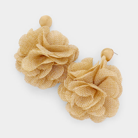 Flower Pom Pom Earrings- Gold