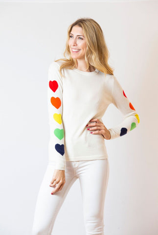 Heart Sleeve Sweater | ivory & rainbow
