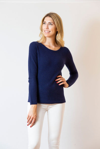 Lattice Weave Crew Sweater | navy