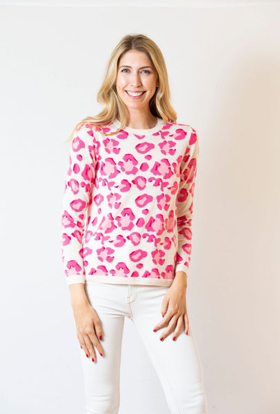 Leopard Sweater | ivory & pink