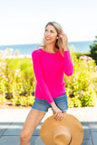 Lattice Weave Crew Sweater | day glow pink
