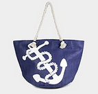Navy with Anchor Beach Bag