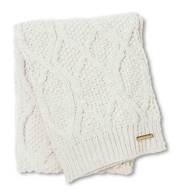 Wool Cable Knit Scarf - Off White