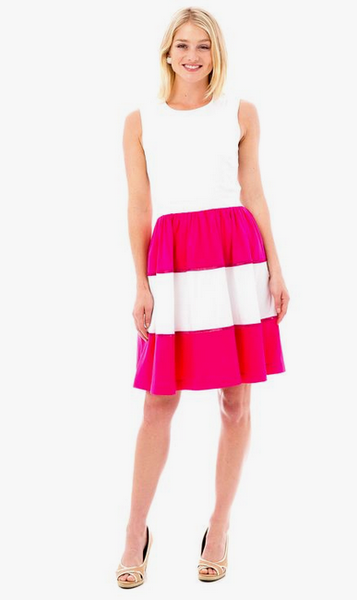 Lisa Dress - Hot Pink and White