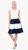 Lisa Dress - Navy and White