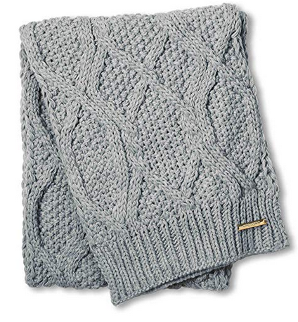 Cable Knit Scarf - Soft Grey