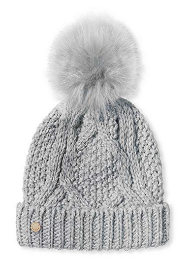 Cable Knit Hat - Soft Grey