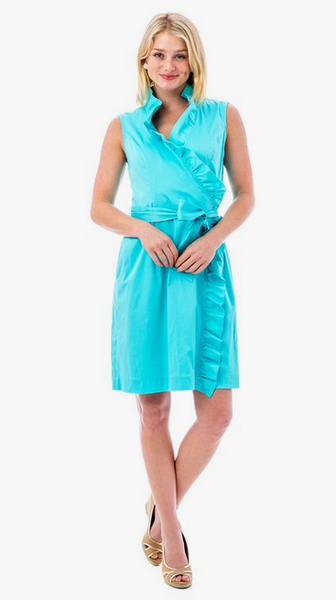 RUFFLE DRESS - TURQUOISE