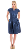 FRANCES DRESS - NAVY HOUNDSTOOTH