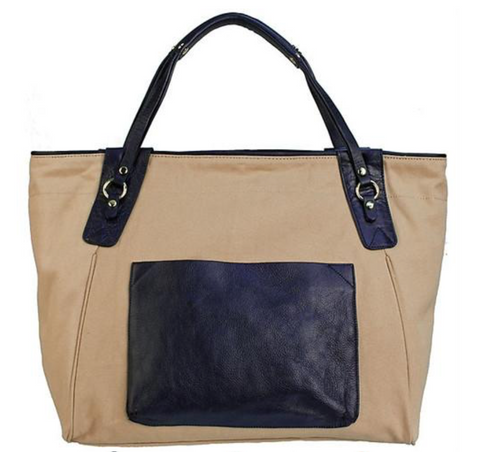 Sunday Tote- Navy/Neutral