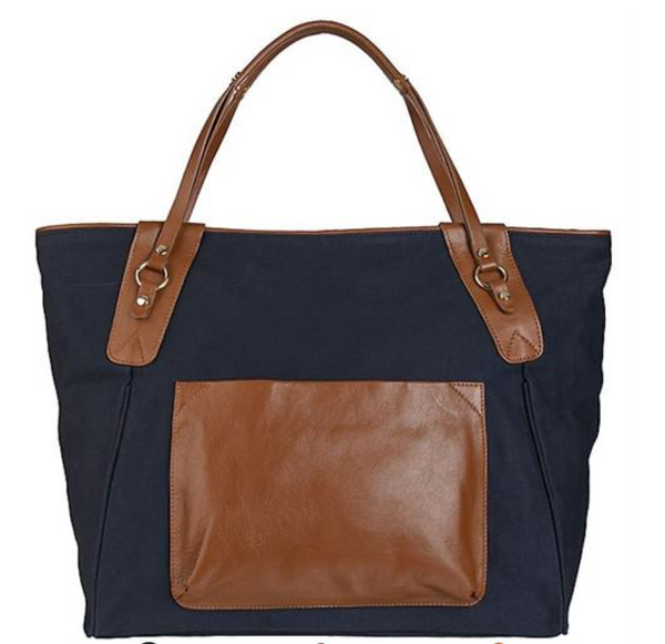 Sunday Tote- Brown/Navy
