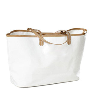 Wellie Market Tote White with Tan