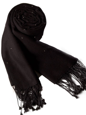 Pashmina Wrap with Swarovski crystals - Smoke Grey