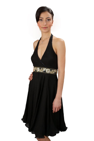 Black Chiffon Halter Party Dress
