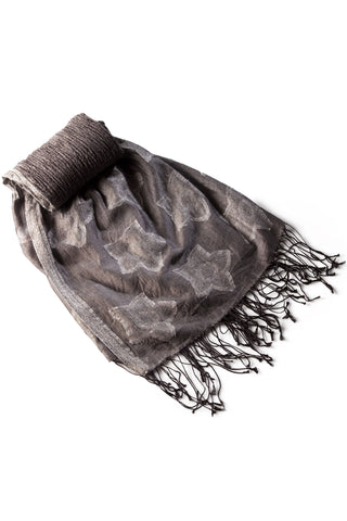 Silk Stole with silver florals - grey