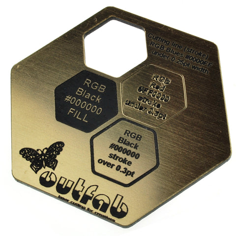 "Two Color Gold/Black Acrylic</h1><p>thickness ≈ 1/16""<p>includes laser cutting, material, & US shipping</p>"