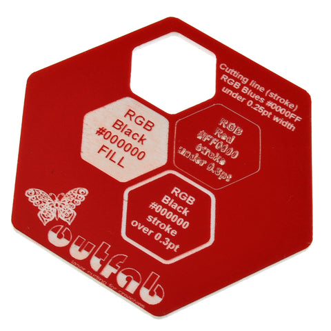 "Two Color Red/White Acrylic</h1><p>thickness ≈ 1/16""<p>includes laser cutting, material, & US shipping</p>"