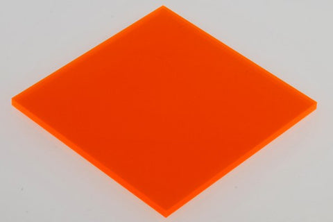 "Transparent Fluorescent Orange Acrylic</h1><p>thickness ≈ 1/8""<p>includes laser cutting, material, & US shipping</p>"