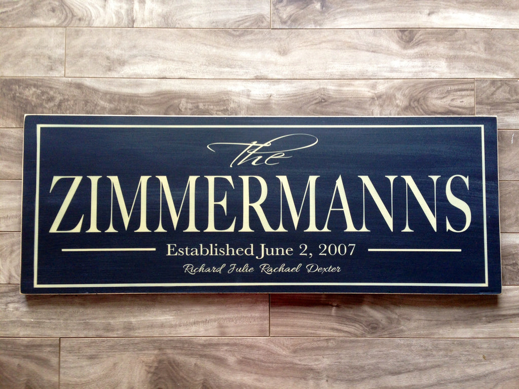 "Family Name sign with border - 12"" x 32"" - MDF"