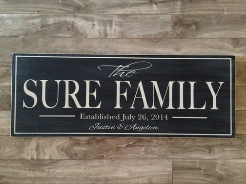 "Family Name sign with border - 8"" x 19"" - MDF"