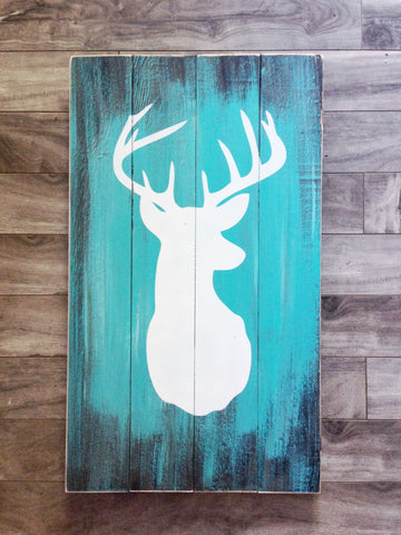 "Deer Silhouette sign 14""x 24"" - Pine"