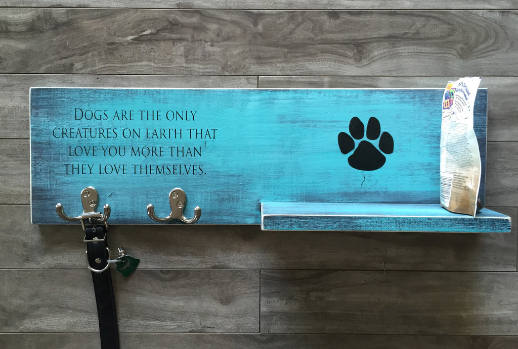 "Dog sign with shelf and hooks 7.25""x 24"" - Pine"