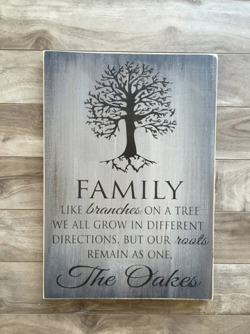 "Family Tree sign 11""x 16"" - Pine"