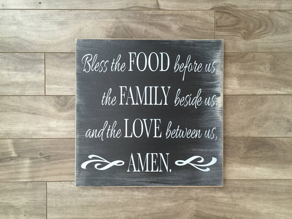 "Bless the Food, Family, Love sign  -12"" x 12"" - MDF"