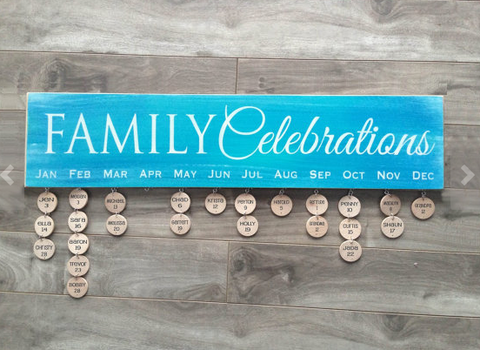 "Family Celebrations sign - 5""x24"" - MDF with 24 discs"