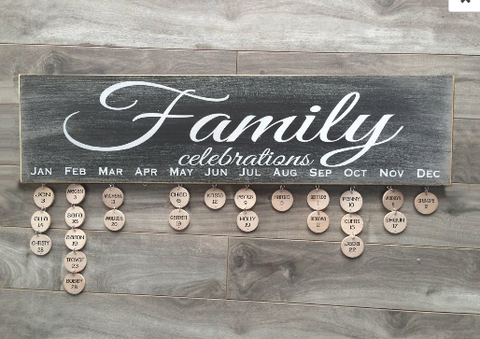 "Family Celebrations sign - 6""x24"" - MDF with 24 discs"