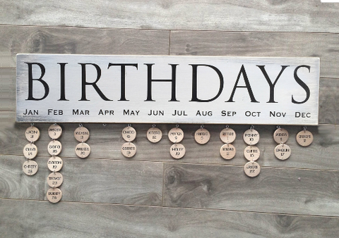 "Birthdays sign - 5""x24"" - MDF with 24 discs"