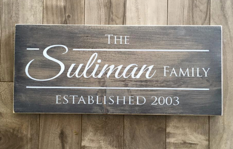 "Family Name sign 7.25""x17"" - Pine"