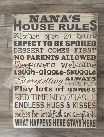 "Grandparents House Rules - 14"" x 19"" - MDF"