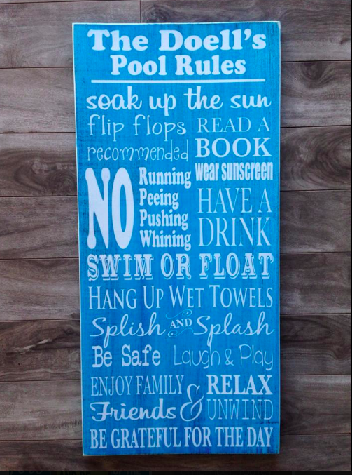"Pool Rules Sign  11""x24"" - Pine"