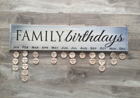"Family Birthdays sign - 5""x24"" - MDF with 24 discs"