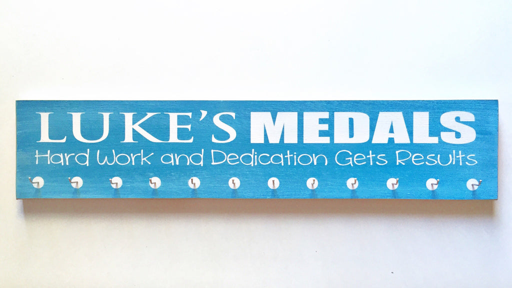 "Personalized Medal Hanger with quote  - 5"" x 24"" - MDF - with 12 hangers"