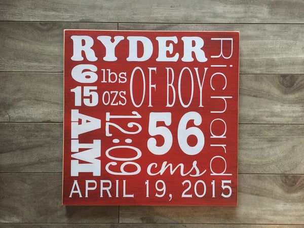 "Baby Stat sign 12"" x 12"" - MDF"