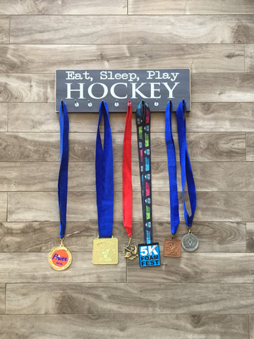 "Eat, Sleep, Play Hockey medal hanger  - 5"" x 16"" - MDF - with 10 hangers"
