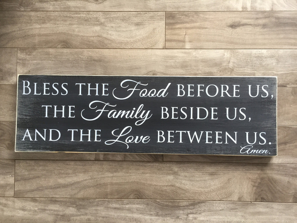 "Bless the Food, Family, Love sign 7.25""x 24"" - Pine"