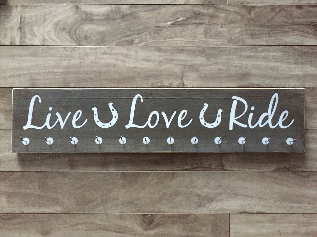 "Live Love Ride Horse sign 5.5""x24"" - Pine with hooks"