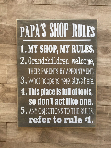 "Papa's or Grandpa's Shop Rules sign - 14"" x 19"" - MDF"