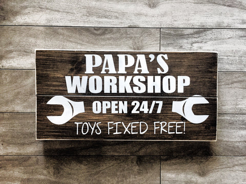 "Papa's Workshop sign 7'x14"" pine slat sign"