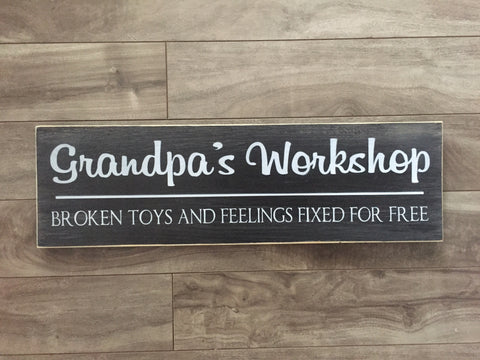 "Grandpa's Workshop sign 5.5""x18"" - Pine"