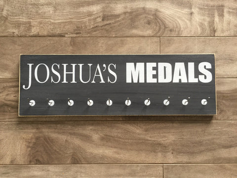 "Personalized Medal Hanger  - 5"" x 16"" - MDF - with 10 hangers"