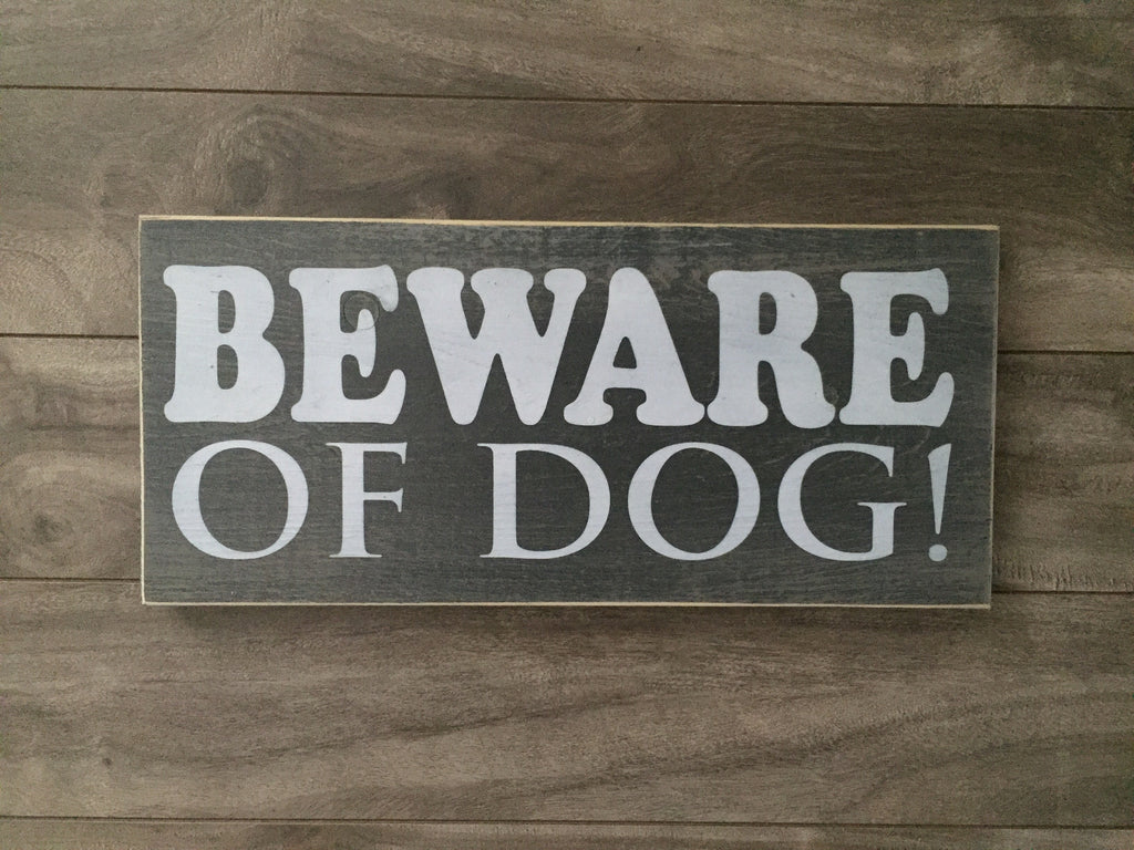 "Stock - Beware of dog sign 5.5""x12"""