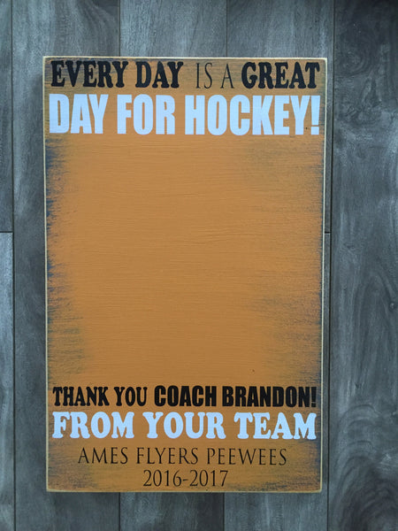 "Coach Sign - for player signatures - 9"" x14"" - MDF"