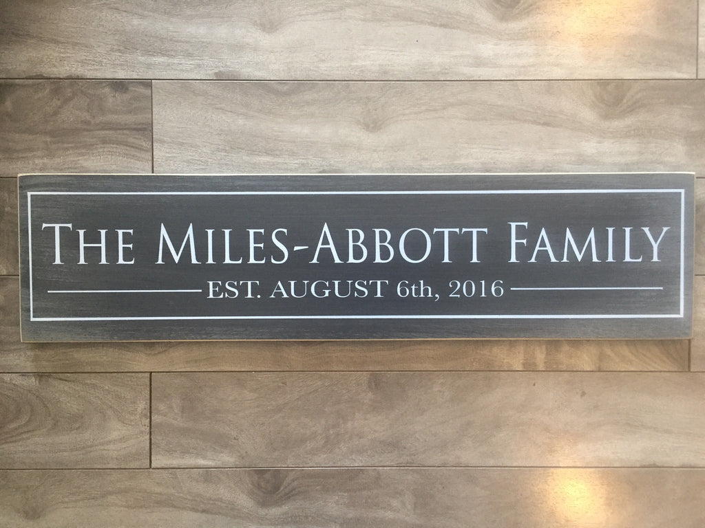 "Family Name sign with border - 6"" x 24"" - MDF"
