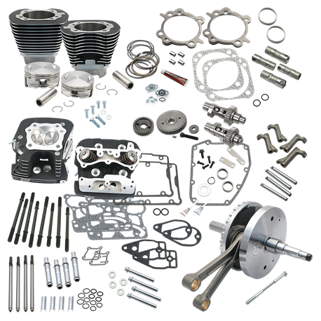 "S&S Cycle - 124"" Hot Set Up Kit® With S&S Cylinder Heads For all 2007-'17 Non-Balanced Big Twins - Wrinkle Black"