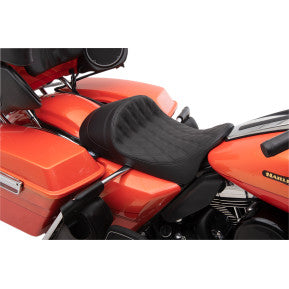 DRAG - EZ-ON MOUNT FORWARD LOW SOLO SEAT - DOUBLE DIAMOND STITCH, BLACK THREAD - '08-'20 TOURING