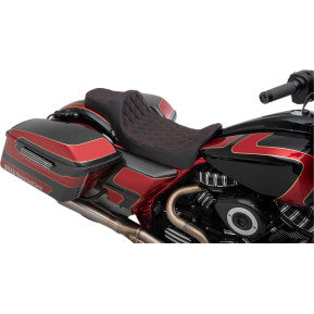 DRAG - EXTENDED PREDATOR III SEAT - DOUBLE DIAMOND STITCH, RED THREAD - '08-'20 TOURING